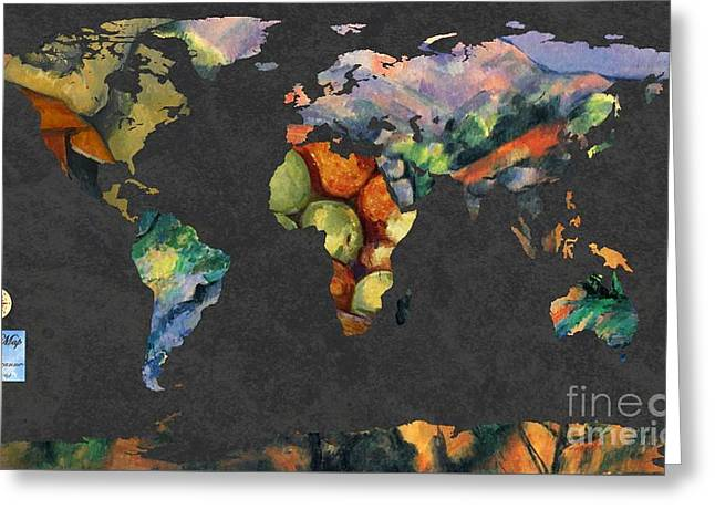 Victoire Greeting Cards - World Map  Cezanne 2 Greeting Card by John Clark
