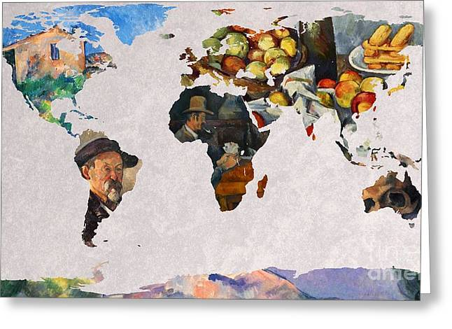 Victoire Greeting Cards - World Map Cezanne 3 Greeting Card by John Clark