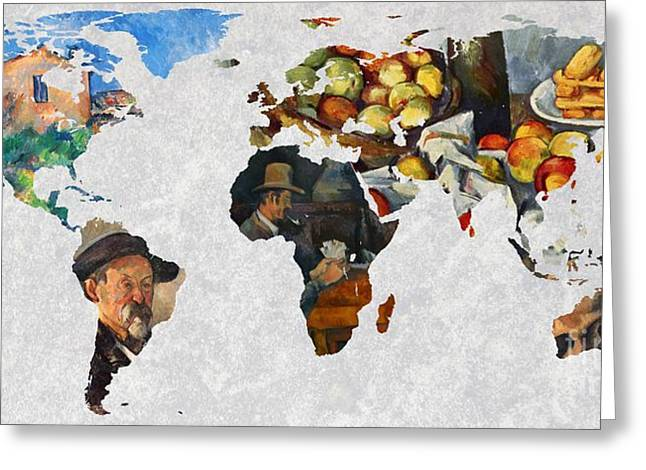 Victoire Greeting Cards - World Map Cezanne 4 Greeting Card by John Clark