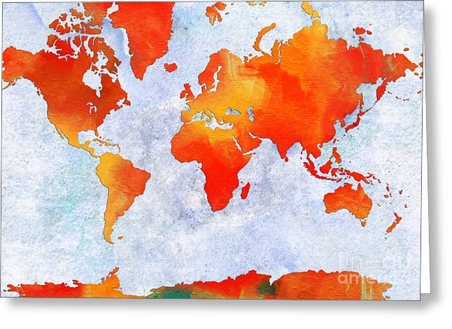 Europe Mixed Media Greeting Cards - World Map - Citrus Passion - Abstract - Digital Painting 2 Greeting Card by Andee Design