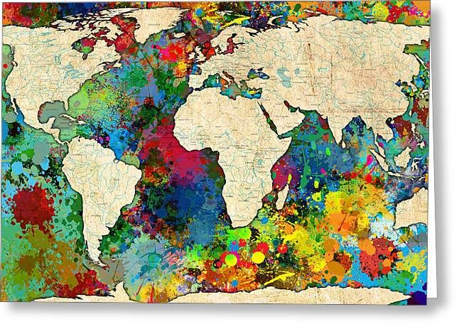 Abstract Decorative Greeting Cards - World Map Colorful Greeting Card by Gary Grayson