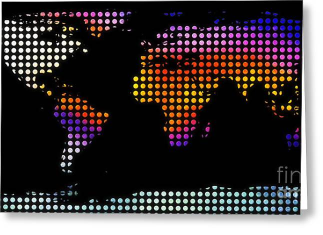 Atlas Greeting Cards - World Map Colourful Dots #2 Greeting Card by Pixel Chimp