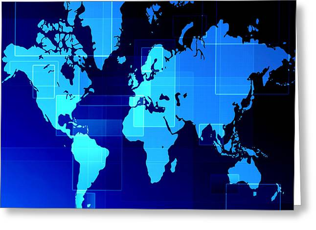 Geometric Style Greeting Cards - World map composition Greeting Card by Modern Art Prints