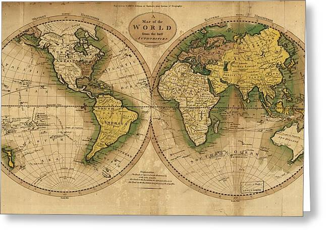 World Map Print Photographs Greeting Cards - World Map Greeting Card by Csongor Licskai