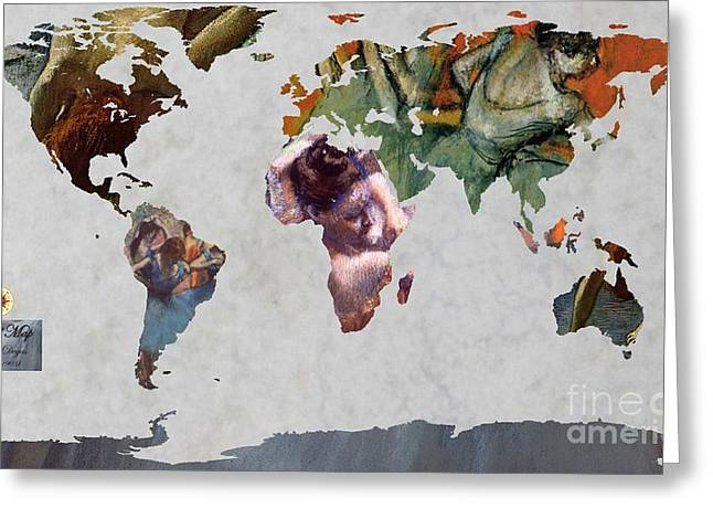 Ballet Dancers Greeting Cards - Degas 5  World Map Greeting Card by John Clark