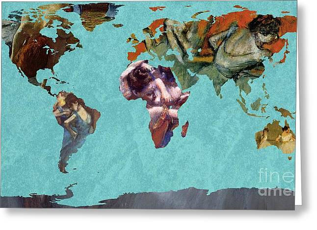 Ballet Dancers Greeting Cards - World Map Degas 2 Greeting Card by John Clark