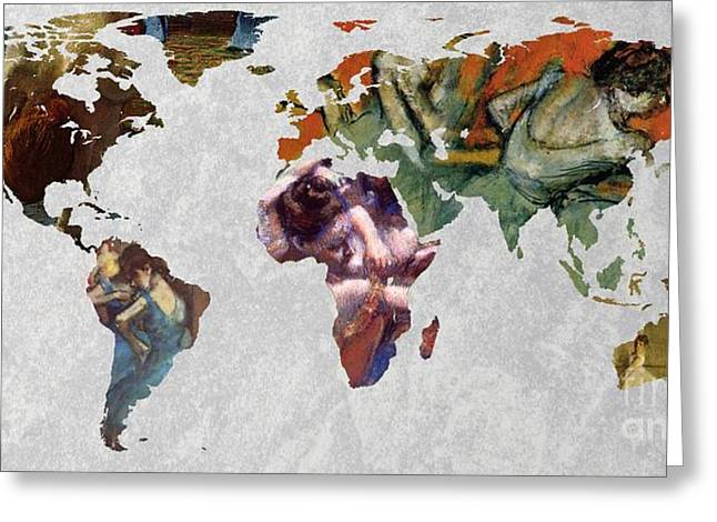 Ballet Dancers Greeting Cards - World Map Degas 3 Greeting Card by John Clark
