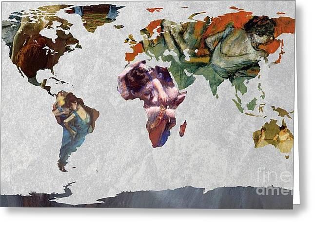Ballet Dancers Digital Art Greeting Cards - World Map   Degas 4 Greeting Card by John Clark