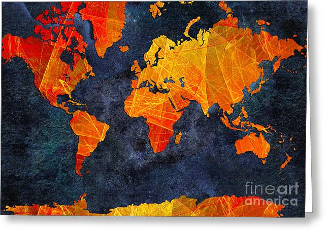 Colorful Photography Mixed Media Greeting Cards - World Map - Elegance Of The Sun - Fractal - Abstract - Digital Art 2 Greeting Card by Andee Design