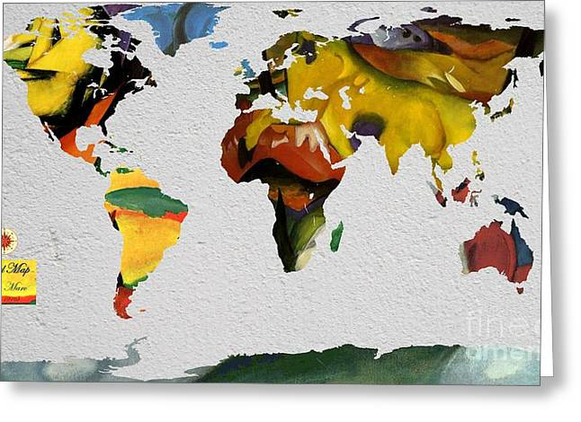 German Map Greeting Cards - Franz Marc 4 World Map Greeting Card by John Clark