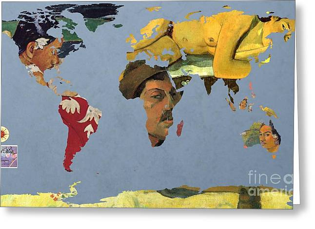 Paul Gauguin Greeting Cards - World Map  Gauguin Greeting Card by John Clark