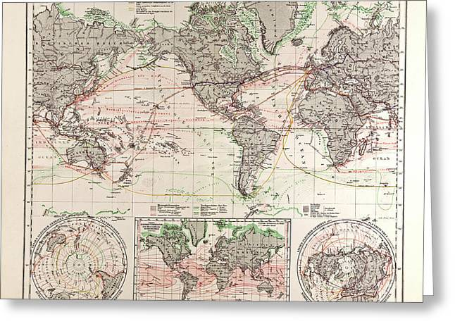 World Map Gotha Justus Perthes 1872 Atlas Greeting Card by English School