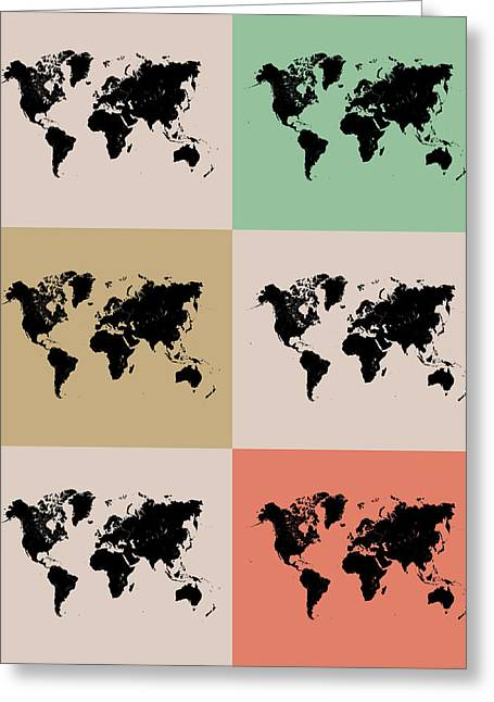 Comical Greeting Cards - World Map Grid Poster 2 Greeting Card by Naxart Studio