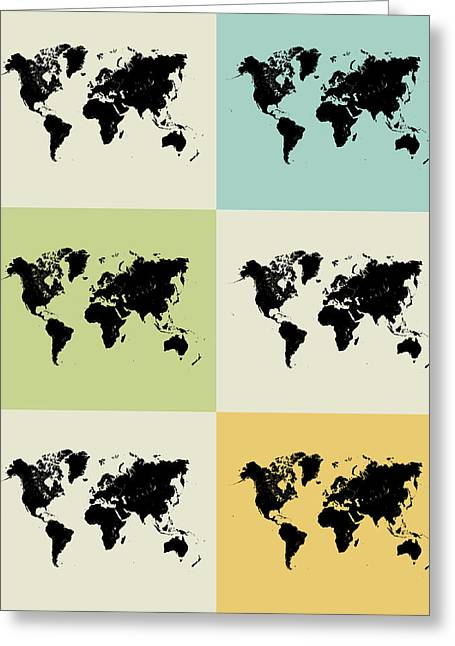 Brainy Greeting Cards - World Map Grid Poster Greeting Card by Naxart Studio