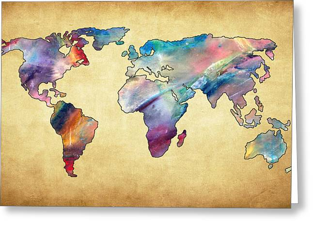 Maps Globes And Flags Greeting Cards - World Map I Greeting Card by Athena Mckinzie