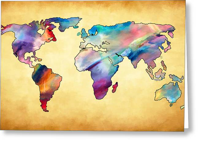 Maps Globes And Flags Greeting Cards - World Map II Greeting Card by Athena Mckinzie