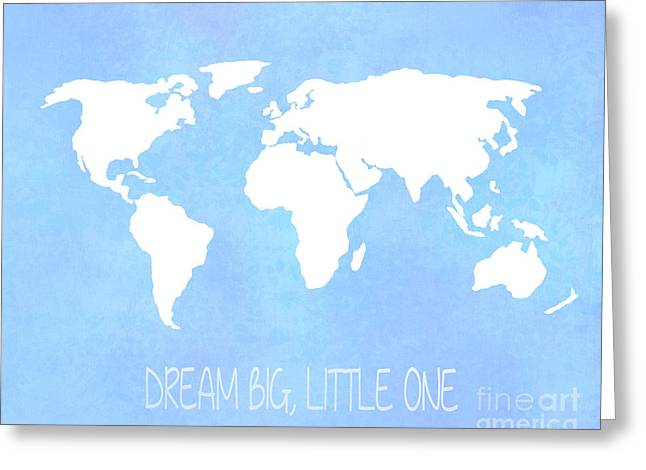 World Map Print Photographs Greeting Cards - World Map in Blue Greeting Card by Jennifer Mecca