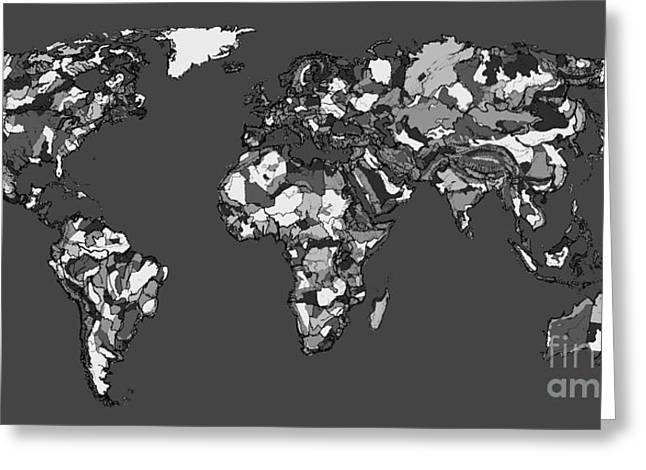 Political Drawings Greeting Cards - World map in charcoal Greeting Card by Lee-Ann Adendorff