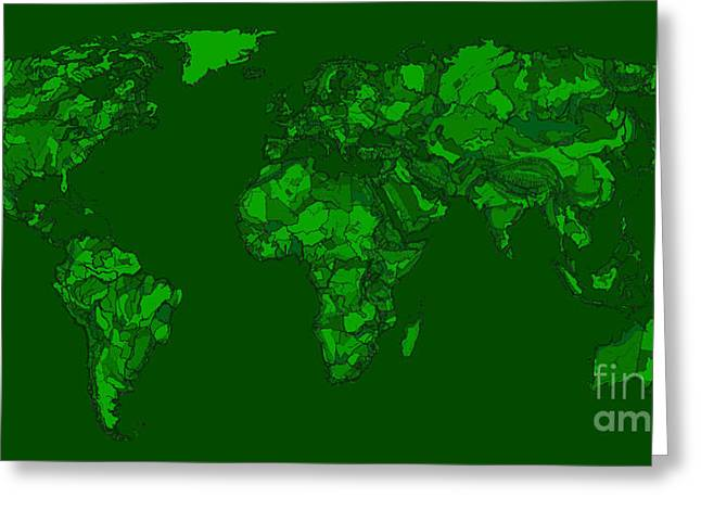 World Map Print Drawings Greeting Cards - World map in dark-green Greeting Card by Lee-Ann Adendorff