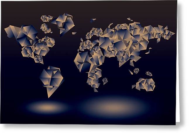 Fractal Globes Greeting Cards - World Map In Geometic Dark Blue  Greeting Card by MB Art factory