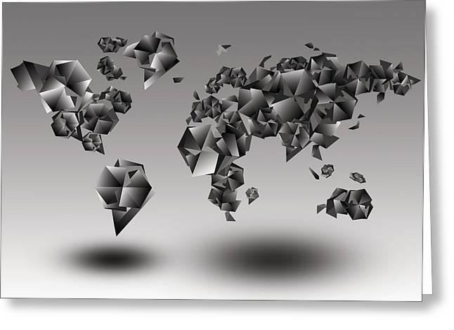 Fractal Globes Greeting Cards - World Map In Geometic Gray  Greeting Card by MB Art factory