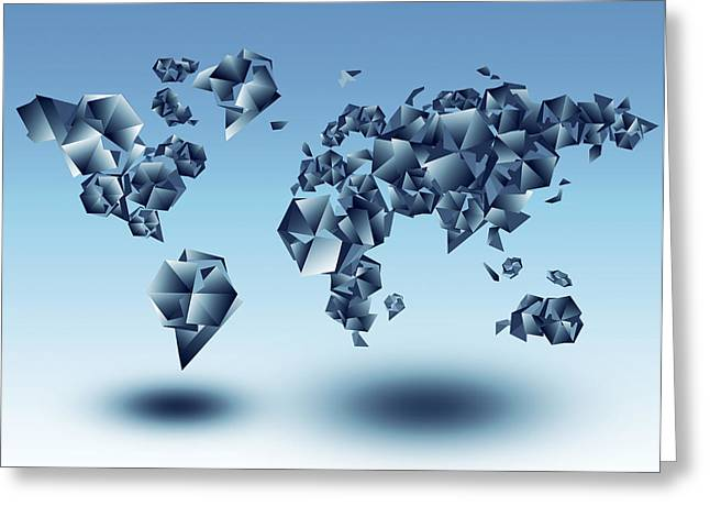 Fractal Globes Greeting Cards - World Map In Geometic Light Blue  Greeting Card by MB Art factory