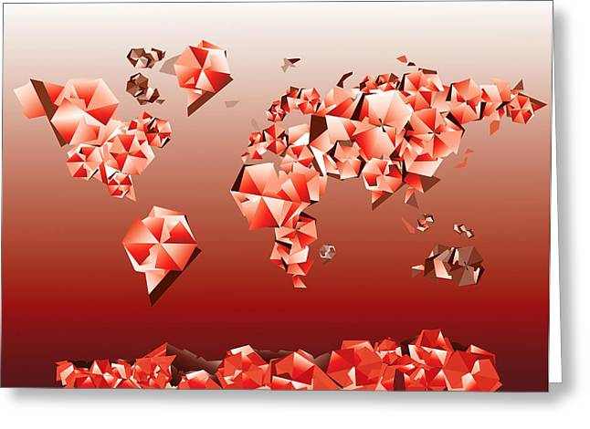 Fractal Globes Greeting Cards - World Map In Geometric Red Greeting Card by MB Art factory