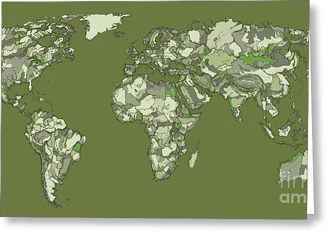 World Map Print Drawings Greeting Cards - World map in grey-green Greeting Card by Lee-Ann Adendorff