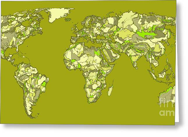 Continent Drawings Greeting Cards - World map in khaki  Greeting Card by Lee-Ann Adendorff
