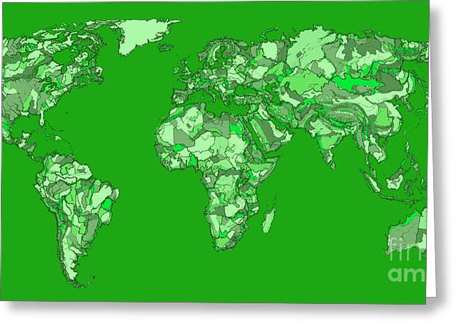Political Drawings Greeting Cards - World map in pine green Greeting Card by Lee-Ann Adendorff