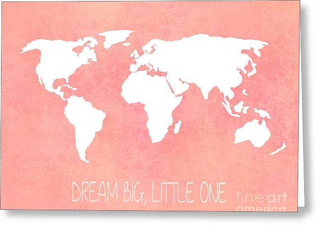 World Map Print Photographs Greeting Cards - World Map in Pink Greeting Card by Jennifer Mecca