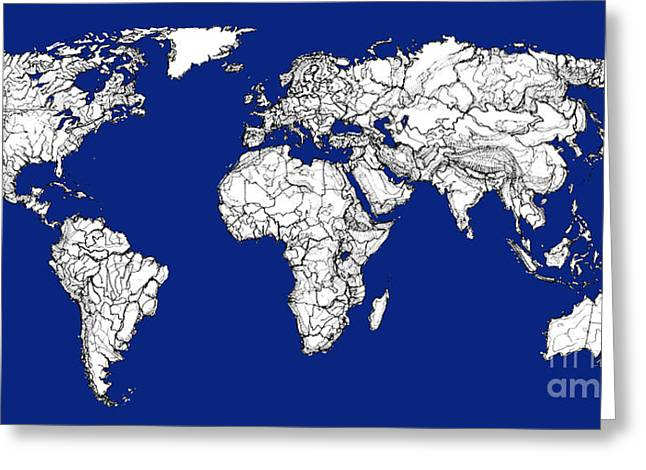 Political Drawings Greeting Cards - World map in royal blue Greeting Card by Lee-Ann Adendorff