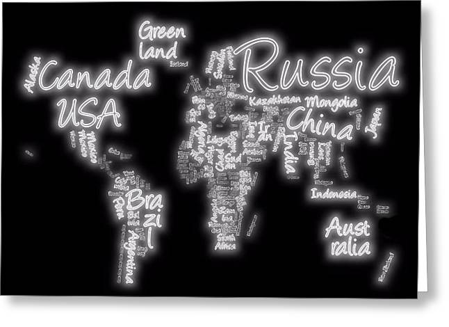 Europe Mixed Media Greeting Cards - World Map In Text Neon Light Greeting Card by Dan Sproul