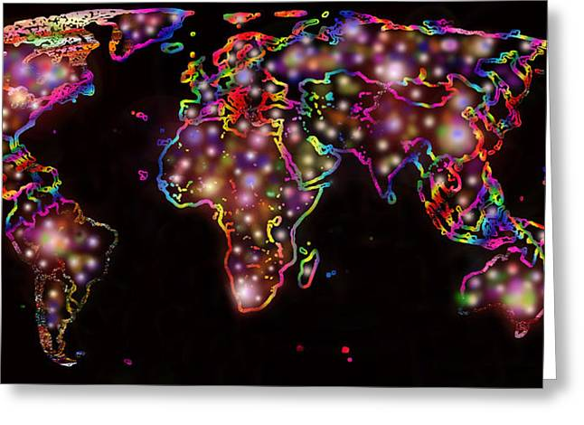 Subconscious Digital Art Greeting Cards - World Map in the Future Greeting Card by Augusta Stylianou