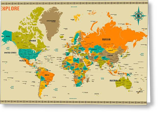 Sizes Greeting Cards - World Map Greeting Card by Jazzberry Blue