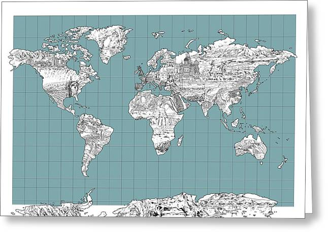 Urban Images Greeting Cards - World Map Landmark Collage 3 Greeting Card by MB Art factory