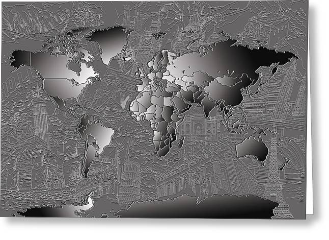 Urban Images Greeting Cards - World Map Landmark Collage 6 Greeting Card by MB Art factory