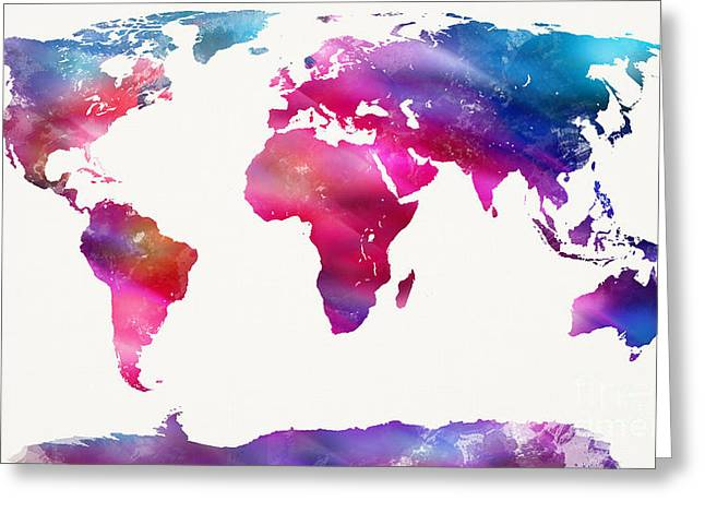 World Maps Mixed Media Greeting Cards - World Map Light  Greeting Card by Mike Maher