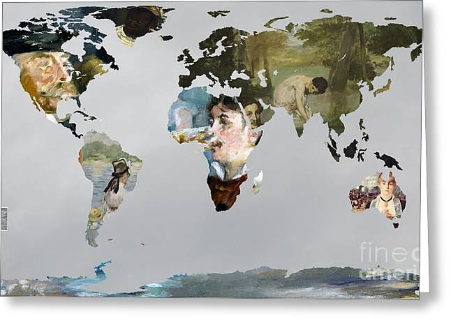 Cabaret Greeting Cards - World Map  Manet Greeting Card by John Clark