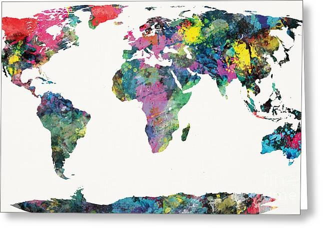 Stencil Spray Greeting Cards - World Map Greeting Card by Mike Maher