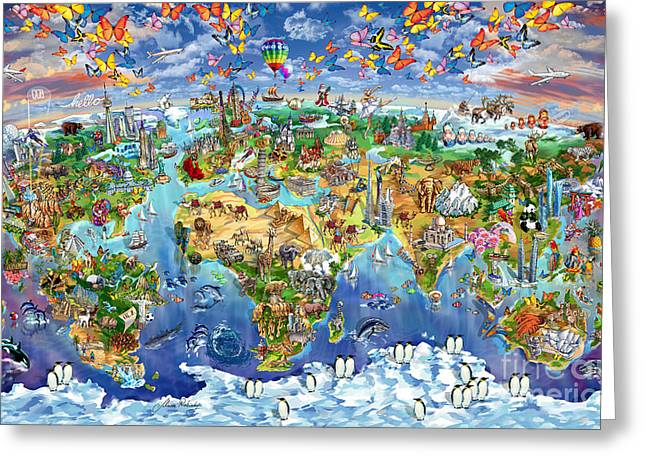 Panoramic Ocean Drawings Greeting Cards - World Map of world wonders Greeting Card by Maria Rabinky