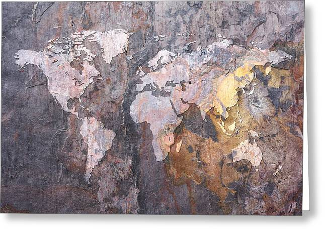 World Map Canvas Greeting Cards - World Map on Stone Background Greeting Card by Michael Tompsett