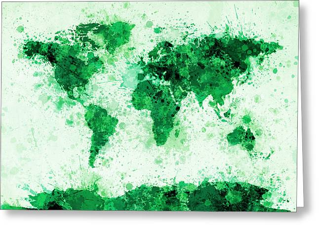 City Map Greeting Cards - World Map Paint Splashes Green Greeting Card by Michael Tompsett