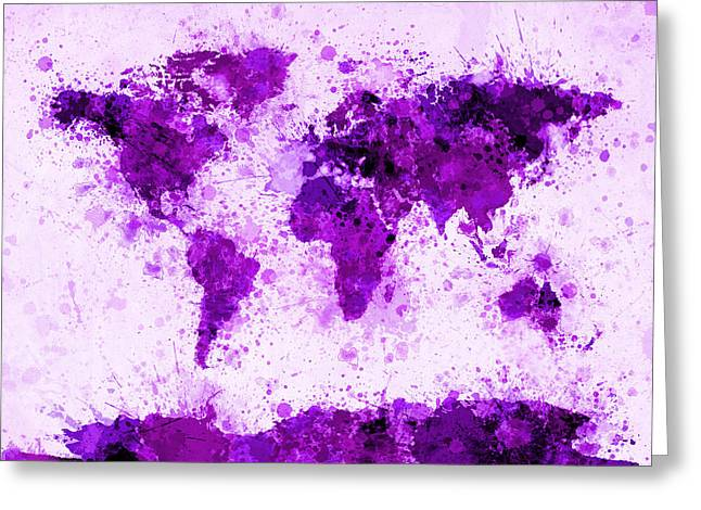 City Map Greeting Cards - World Map Paint Splashes Purple Greeting Card by Michael Tompsett
