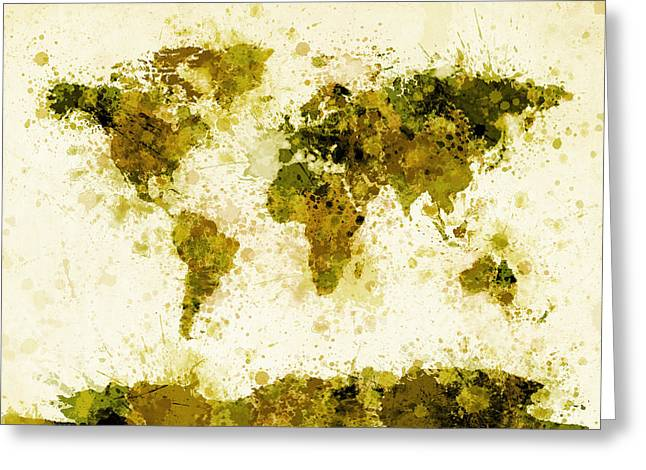Maps Globes Greeting Cards - World Map Paint Splashes Yellow Greeting Card by Michael Tompsett