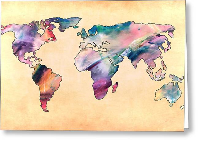 Maps Globes And Flags Greeting Cards - World Map Pastel Greeting Card by Athena Mckinzie