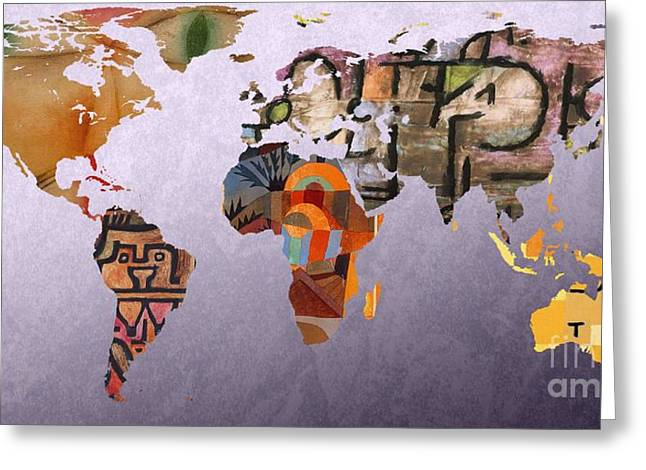 German Map Greeting Cards - World Map  Paul Klee 5 Greeting Card by John Clark