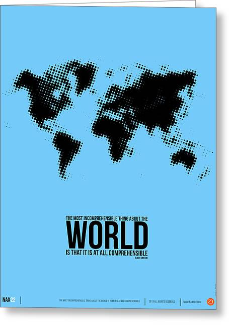 World Map Poster Greeting Card by Naxart Studio