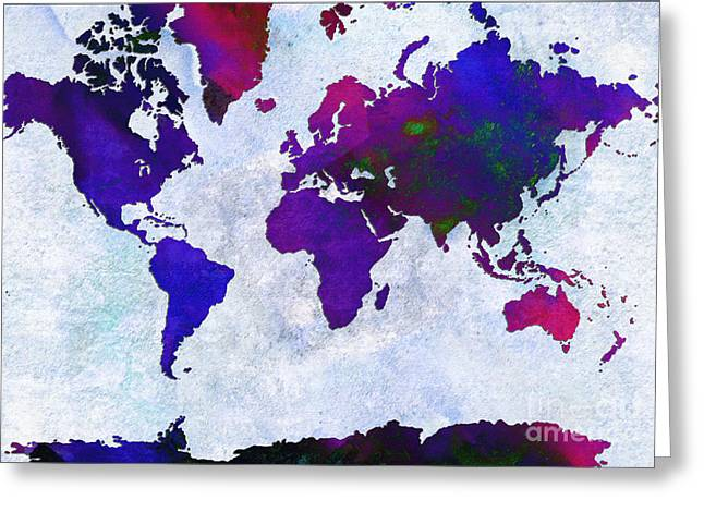 World Map - Purple Flip The Light Of Day - Abstract - Digital Painting 2 Greeting Card by Andee Design