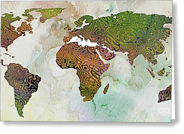 Relief Print Paintings Greeting Cards - World Map Relief Greeting Card by Dragica  Micki Fortuna